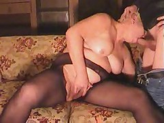 Old Blonde Granny in Pantyhose Sucks and Fucks get under one's Boy