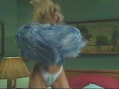 Cheerleader Angela Summers cheer up Peter North