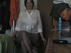 Mature couple fuck in pantyhose