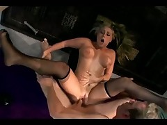 Big boobed blonde fucking and deepthroating in fishnet lingerie