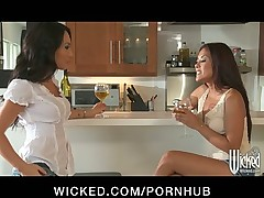 BUSTY ASIAN ASS FUCKS JAPANESE LESBIAN WIFE WITH STRAP ON & DILDO