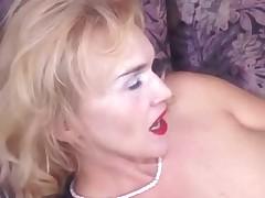 Brassy Blonde Granny Puts on Pantyhose Toys and Fucks