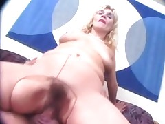 Brassy Blonde Granny Puts on Pantyhose Toys and Fucks