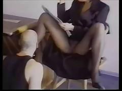 Slave licks pantyhose domina and get fucked
