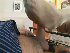 Footjob in Yellow Stockings