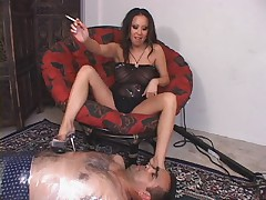 Sexy Asian Girl Smoking and Spitting On Lucky Guy