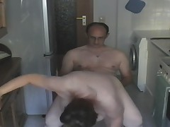German Pregnant BBW fucked through the kitchen
