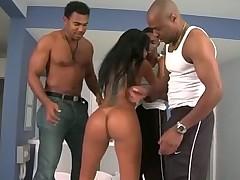 Brazilian brunette anal orgy