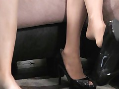 Footworship and pantyhose sniffing