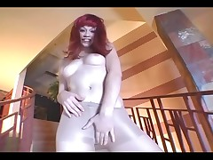 Redhead toe sucking and pantyhose masturbation