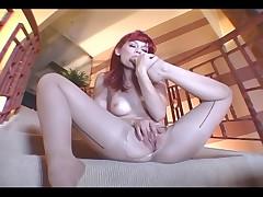 Redhead toe sucking and pantyhose masturbation