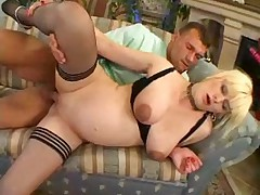 Pregnant woman masturbates sucks and fucked
