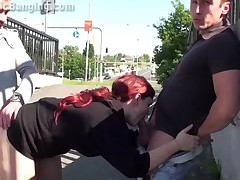 Public Threesome Sex By A Bus Stop! AWESOME!