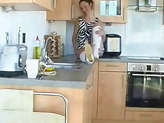 Hairy young teen in kitchen