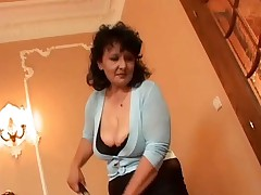 Busty Mature in Pantyhose Plays with Two Cocks