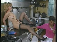 Interracial 3some in the kitchen