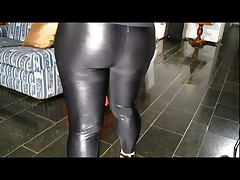Chubby in shiny leggings and pantyhose