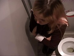 Teen in the bathroom finds gloryhole