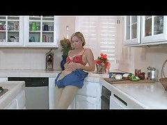 Fit Blonde Granny in the Kitchen Sink