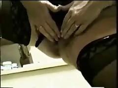 Michelle masturbating in the kitchen