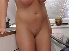 Cumming in kitchen