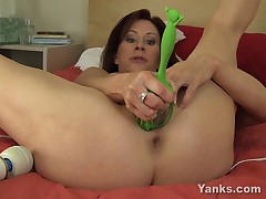 MILF Shoves a Massive Kitchen Whisk into her Wide Pussy