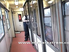 Public sex by hot amateur-slut in a train
