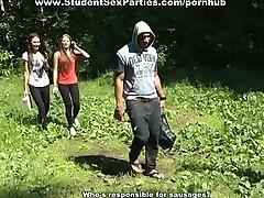 Three sexy student girls fuck black guy