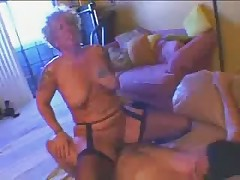 Tattooed german old granny mature