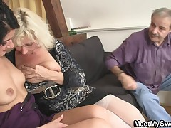 He finds his GF in threesome with his parents