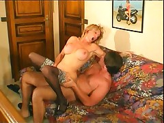 French blonde mature and a young man