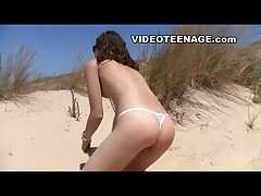 European teen at beach