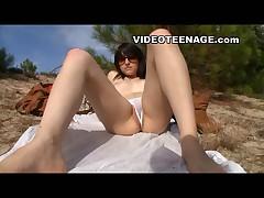 European teen at beach