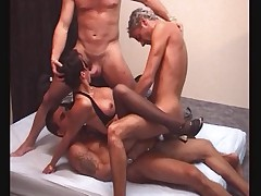 French slut and 3 men
