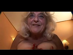 Blonde Granny in Stockings Fucks