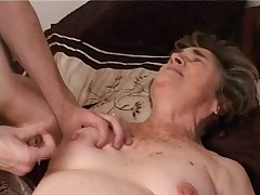Ancient Hairy Granny in Stockings Suck and Fuck Again