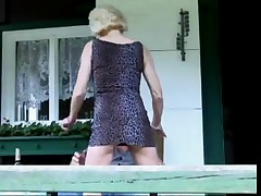 Hot Granny Cougar Banged Outside