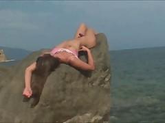 Teenie cum by the sea