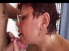 Hairy Granny in Glasses and White Stockings Fucks