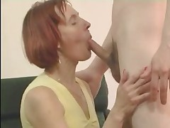 Redhead Mature in Stockings Fucks