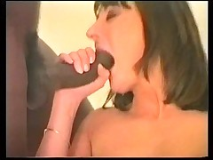 French brunette with two men