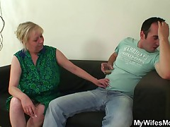Cock hungry mom jumps on her son on law