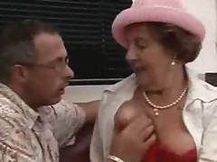 Crazy Brunette Grandma Fucked on the floor