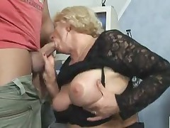 Blond granny suck and dear one