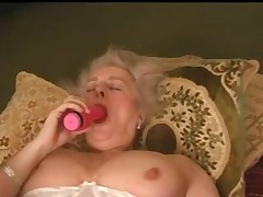 Mature Granny Busty Plays With Her Hairy Pussy