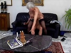 Gray-haired granny in action