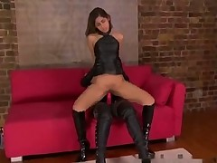 British slut in strap-on action
