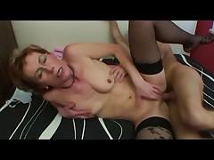 Nice Nipples Granny in Stockings Fucks