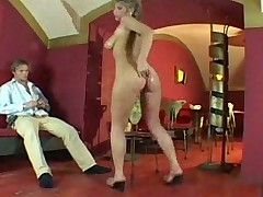Hot milf give a vintage style handjob and boobjob