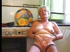 Granny masturbating in stocking part1
